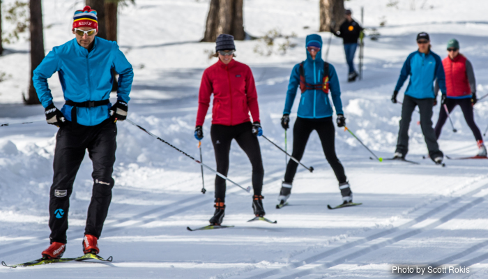 Group skiing clinic