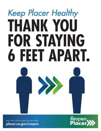 Thank you for staying 6 feet apart poster from Placer County