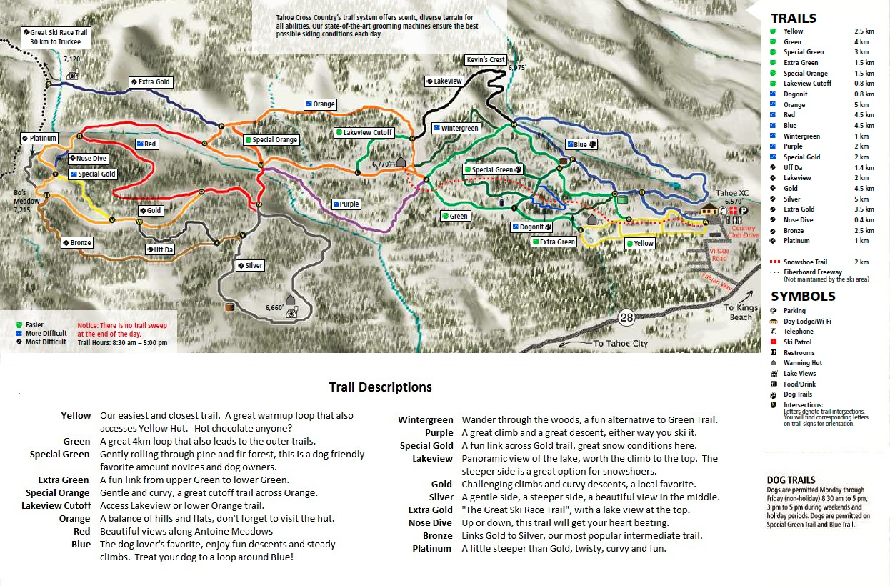 Trail map of Tahoe XC
